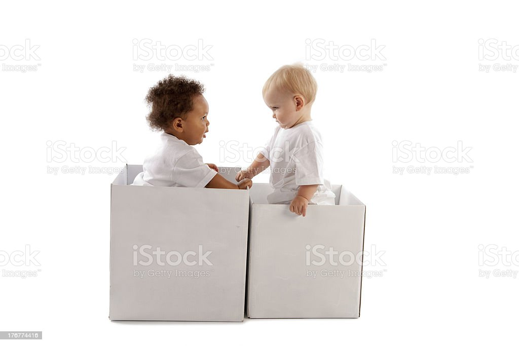 Diversity: Multiracial Babies Playing royalty-free stock photo