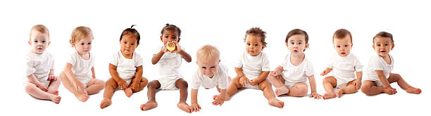 Diversity: Multiracial Group of Babies and Toddlers stock photo