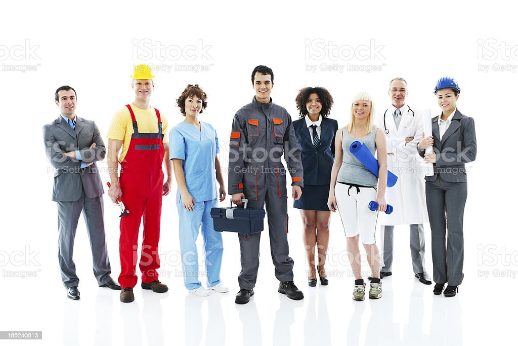 Diversity occupations people. stock photo