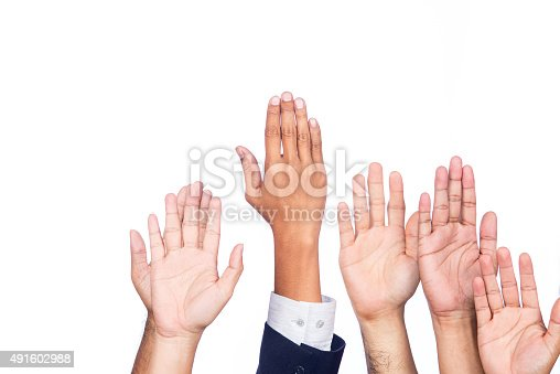istock Diversity of Business Hands Raised 491602988