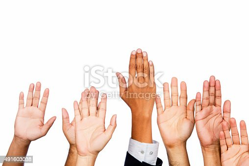 istock Diversity of Business Hands Raised 491603038