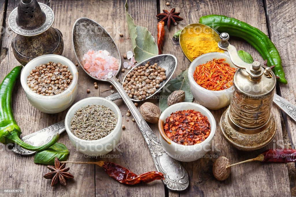 diversity of oriental spices royalty free stockfoto