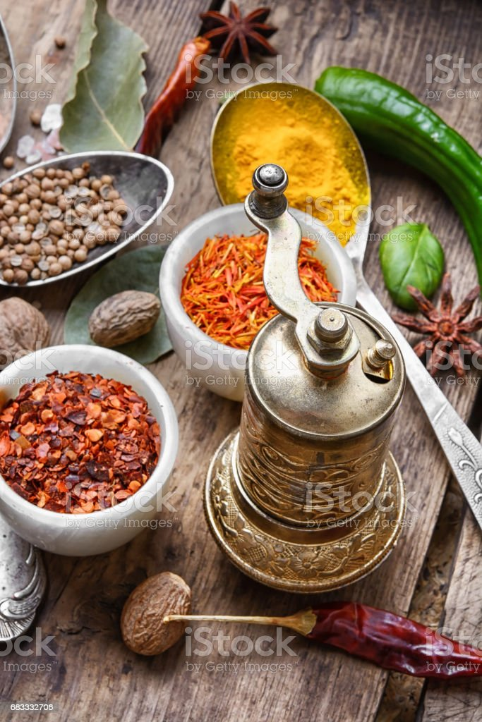 diversity of oriental spices foto stock royalty-free