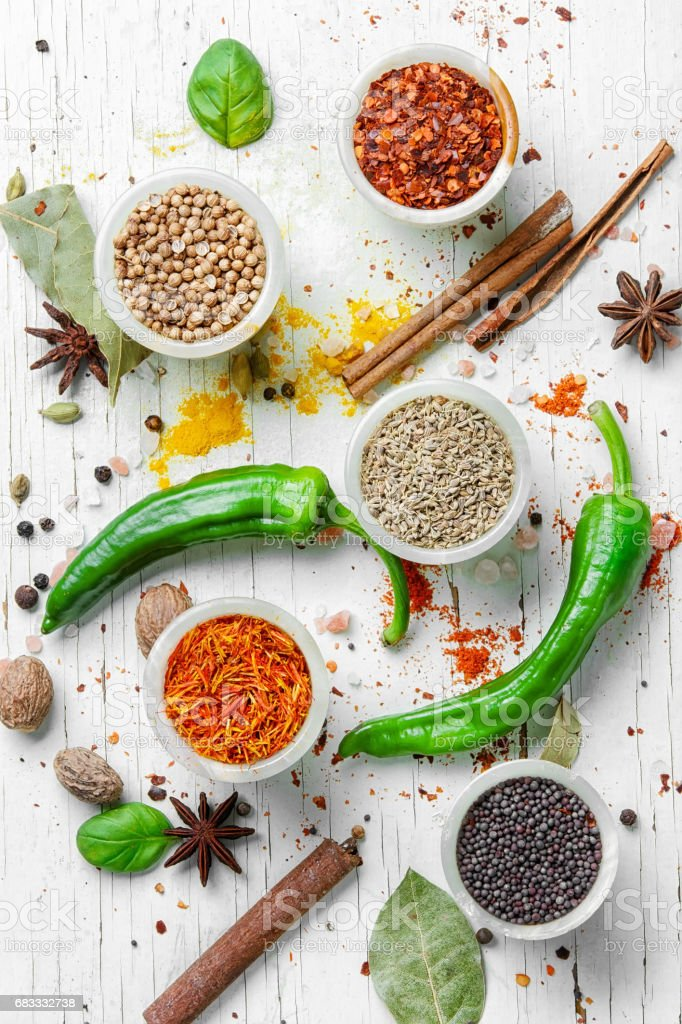 diversity of oriental spices royalty-free stock photo