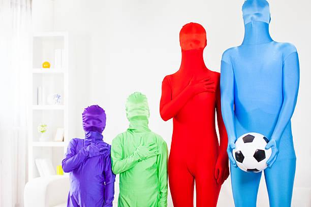 vielfalt der fußball-fans. - morphsuit stock-fotos und bilder