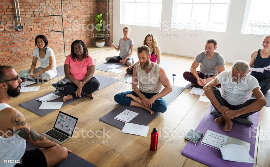 Diversity People Exercise Class Relax Concept royalty-free stock photo