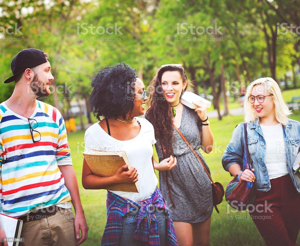 Diversity Teenagers Friends Friendship Team Concept stock photo