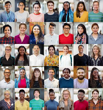 A headshot collage of people within the Australian educational system. Multiple people working in an educational environment, professionals, and students. Adults only