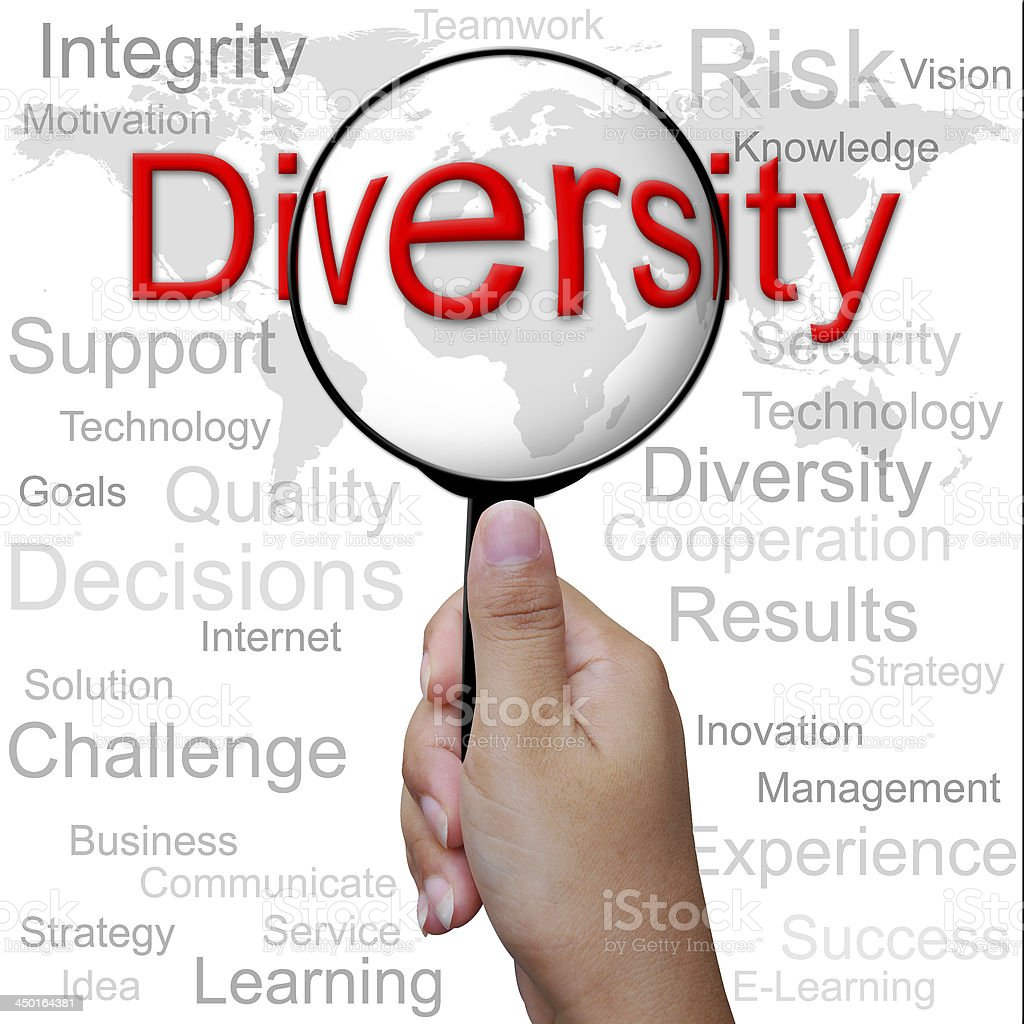 Diversity, word in Magnifying glass ,business background royalty-free stock photo