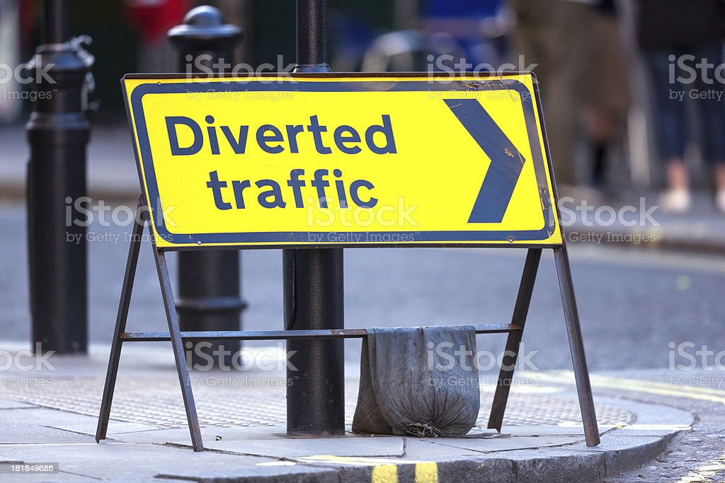 Diverted traffic sign in London royalty-free stock photo