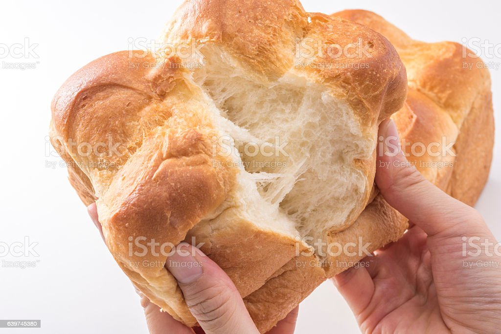Divided by bread by hand stock photo