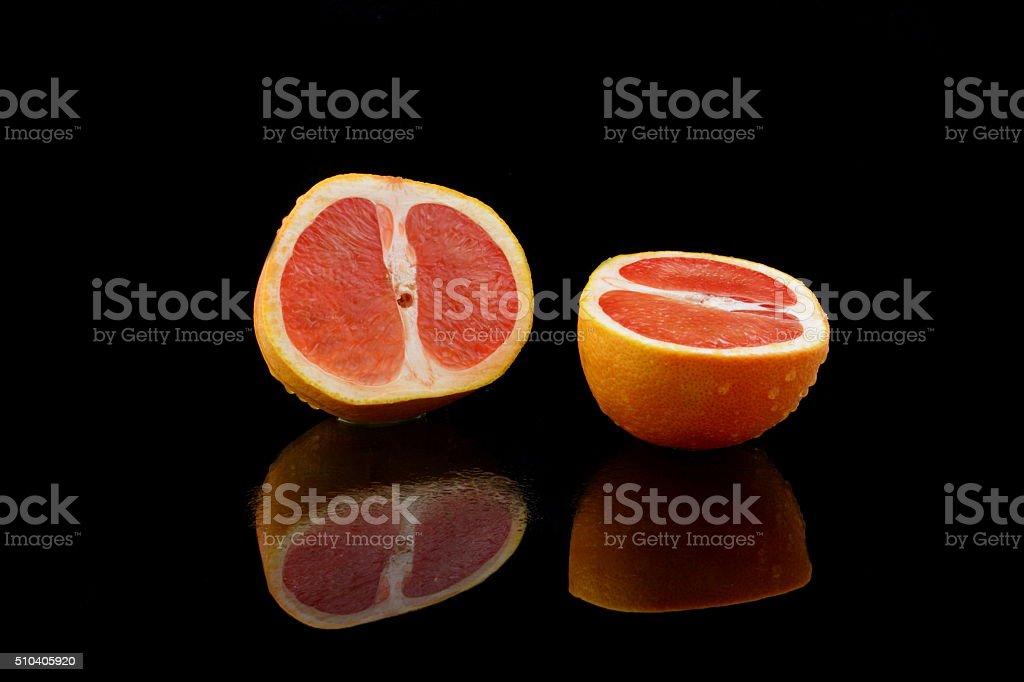geteilte grapefruit stock photo