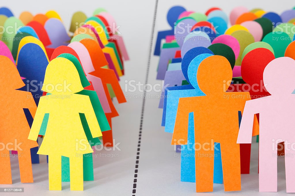 Divided men and women royalty-free stock photo