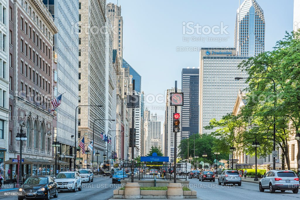 Divided street with traffic stock photo