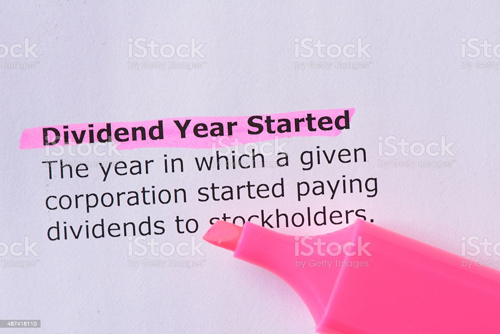 Dividend Year Started stock photo