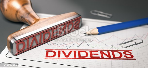Rubber stamp with the word dividend printed over a stock chart.  Concept of investment. 3d illustration.