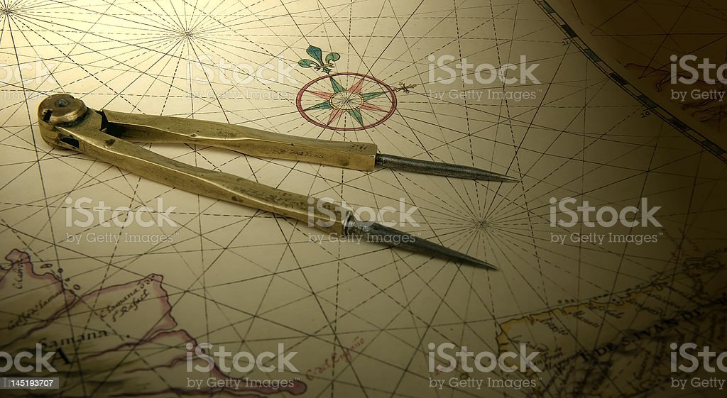 Dividers on a map royalty-free stock photo