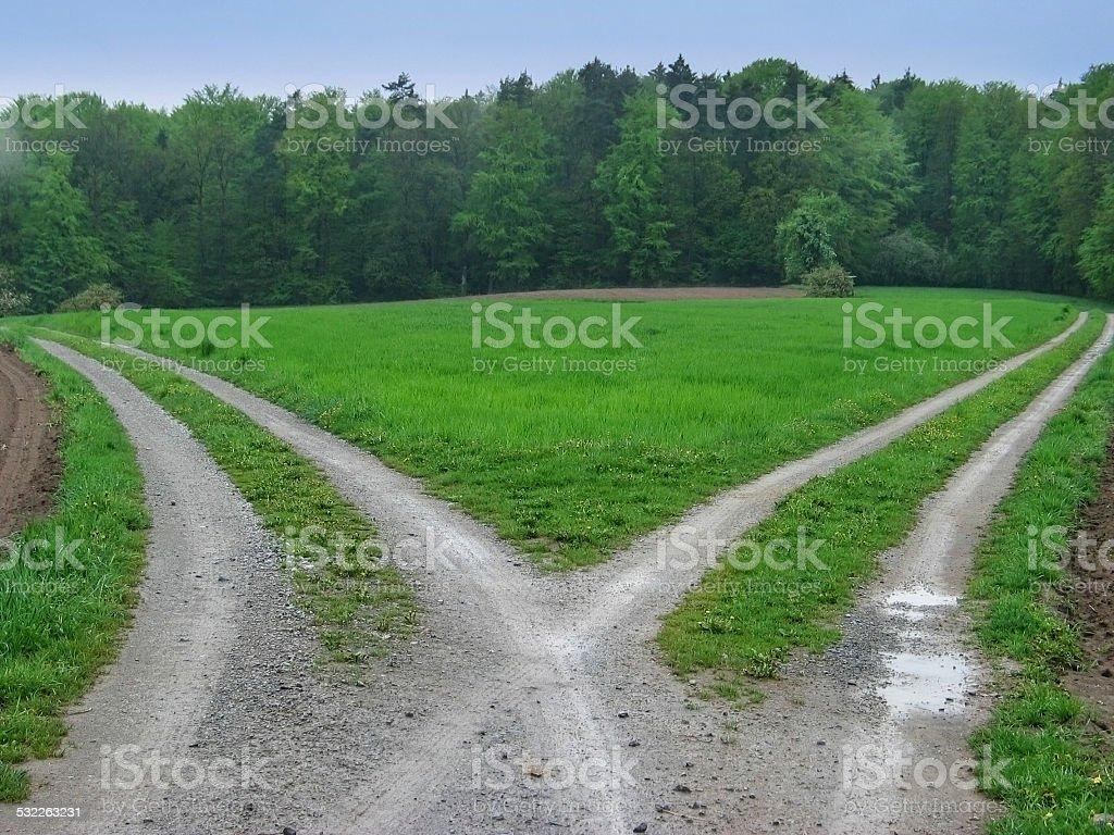 Dividing roads stock photo