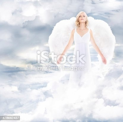 A beautiful angel on clouds