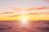 Sunset above a soft cloudscape in Tenerife.