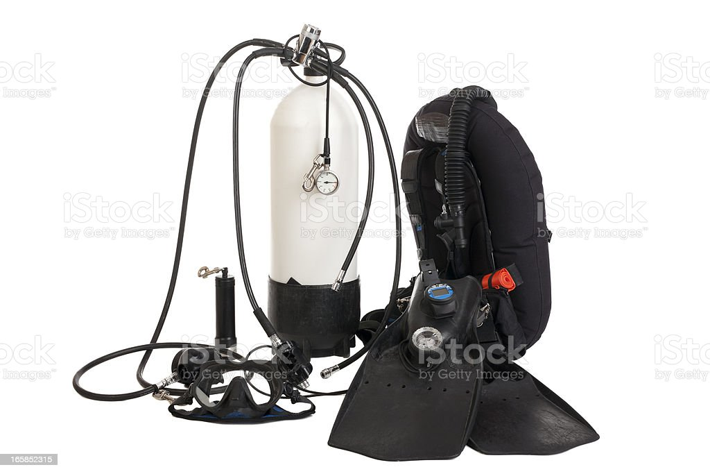 Diving equipment isolate on white stock photo