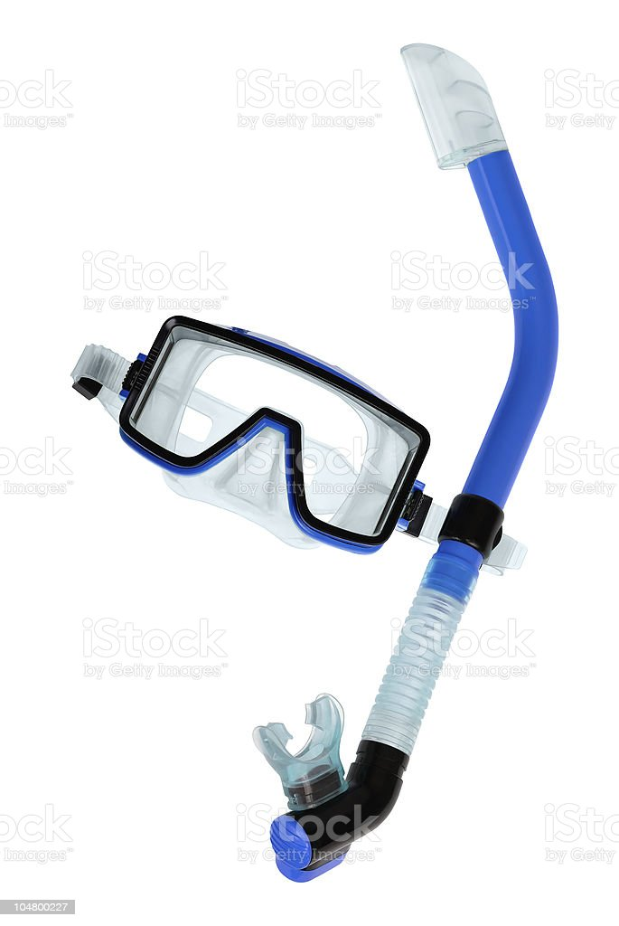 Diving goggles with snorkel on white stock photo