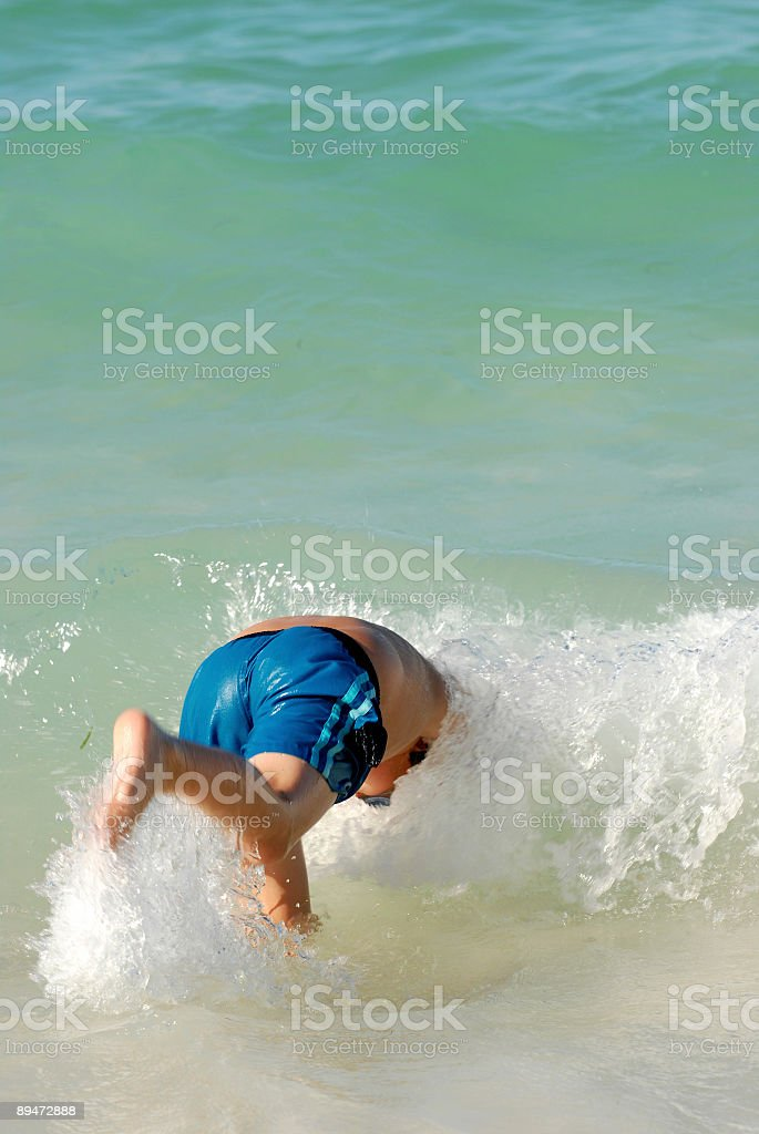 Diving in the surf royalty-free stock photo