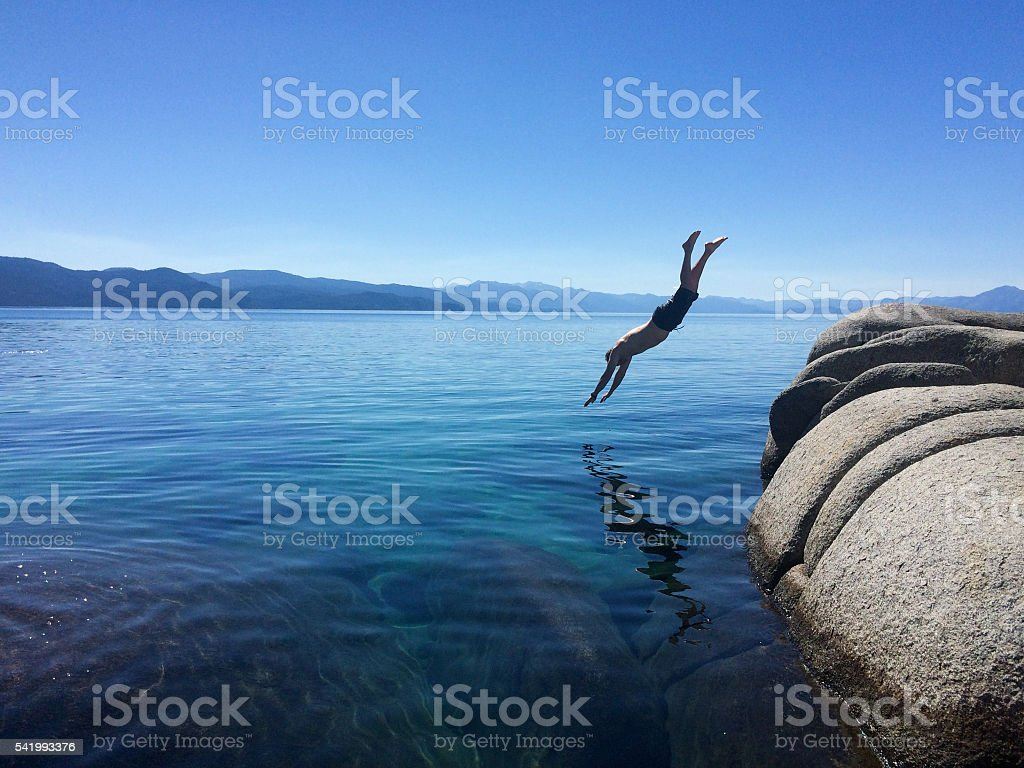 Diving into Lake Tahoe stock photo