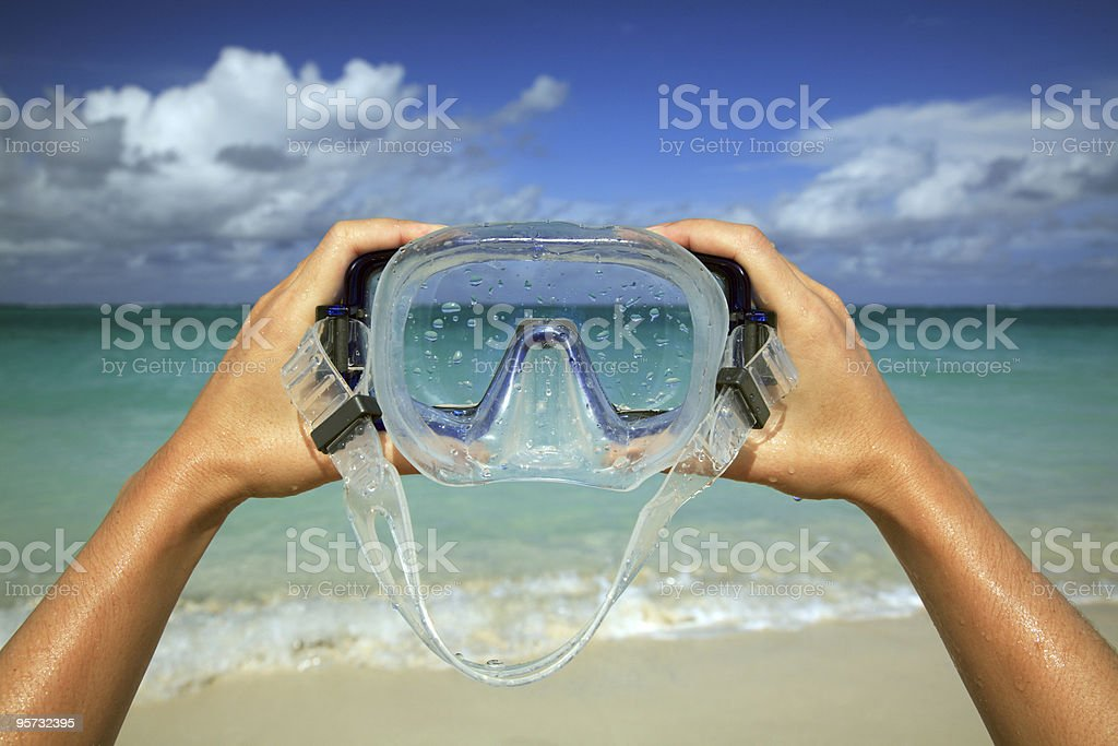 Diving Mask Beach Scenic stock photo