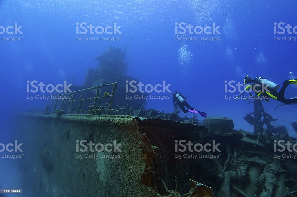 Diving on a wreck stock photo