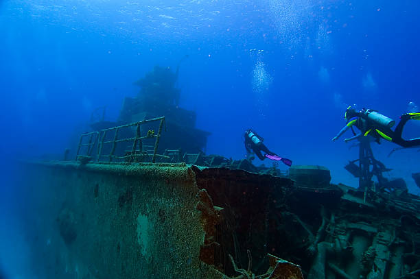 Diving on a wreck  sunken stock pictures, royalty-free photos & images