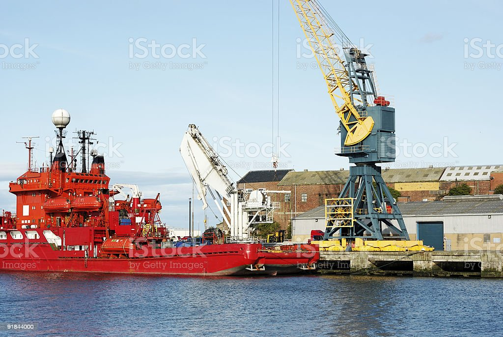 Diving Support Vessel and Cranes stock photo