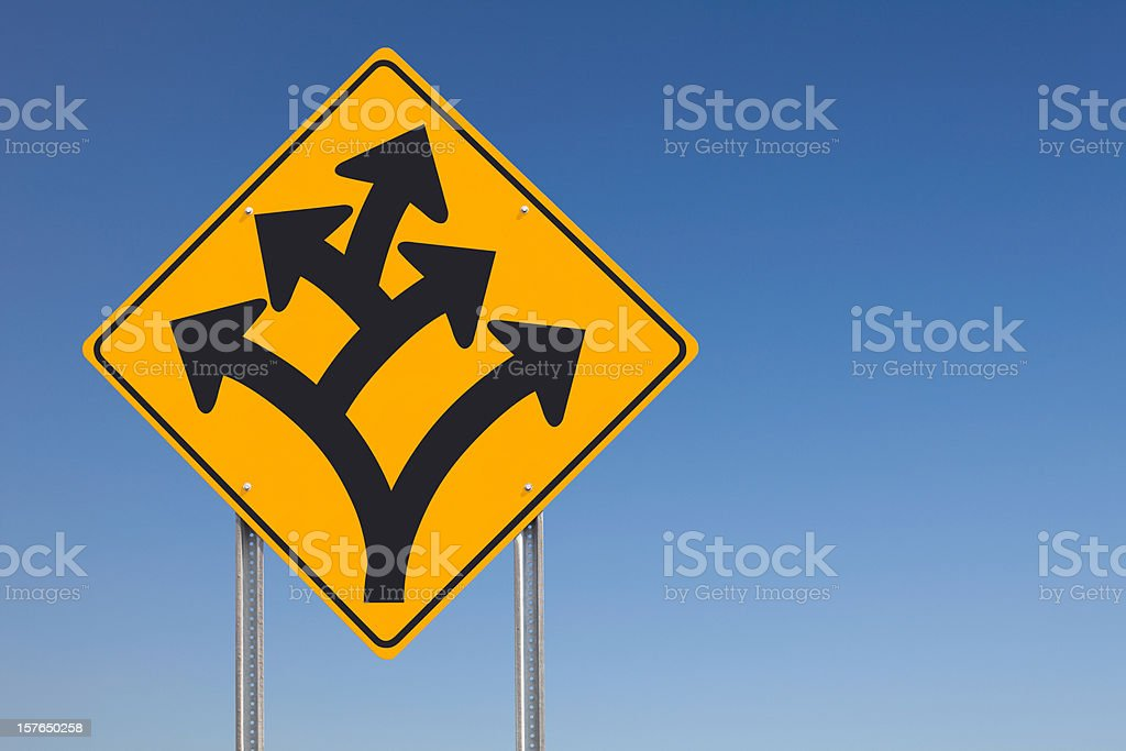 Division Branching Off Ahead Traffic Road Sign Post stock photo