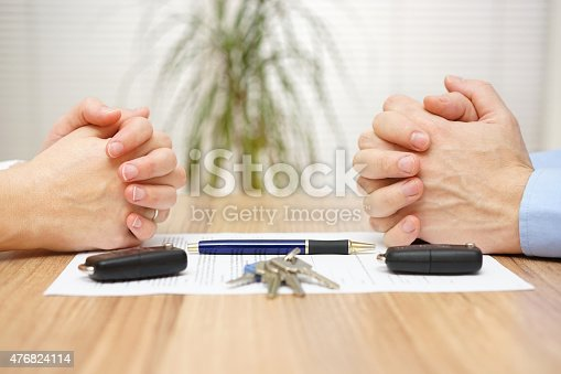 istock Divorce agreement. Wife and husband can not make settlement 476824114