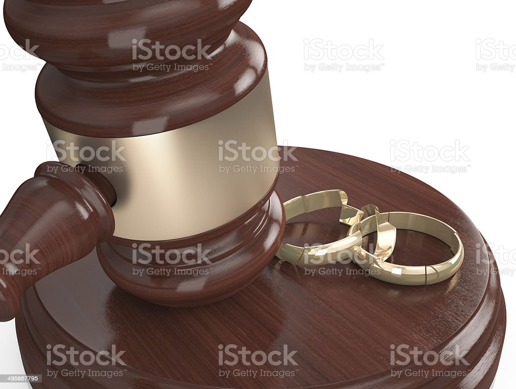 Divorce , Broken rings stock photo