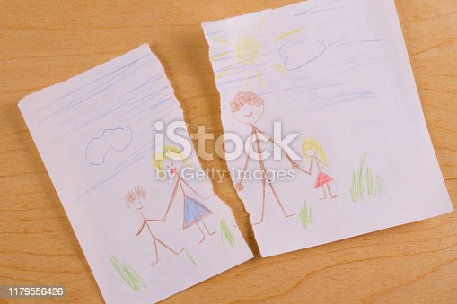 Divorce concept image. Child family picture turn to pieces