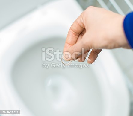 istock Divorce concept. Woman throwing her wedding ring in the toilet. 594945422