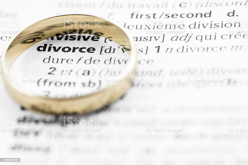 Divorce definition text with gold wedding ring concept stock photo