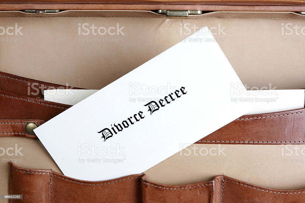 Divorce documents in a leather briefcase royalty-free stock photo