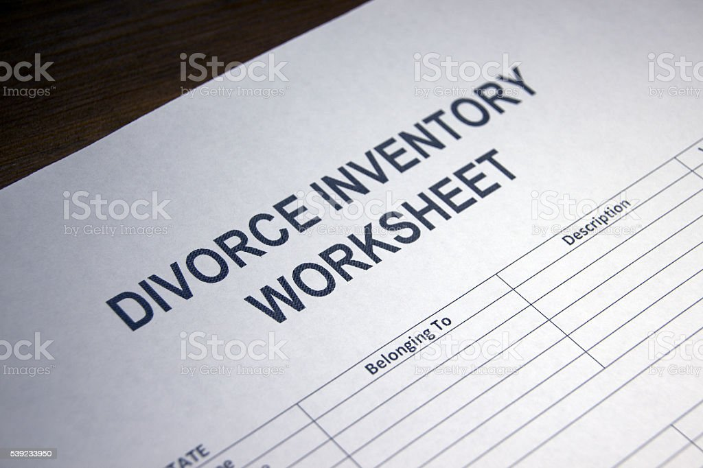 Divorce Inventory Worksheet royalty-free stock photo