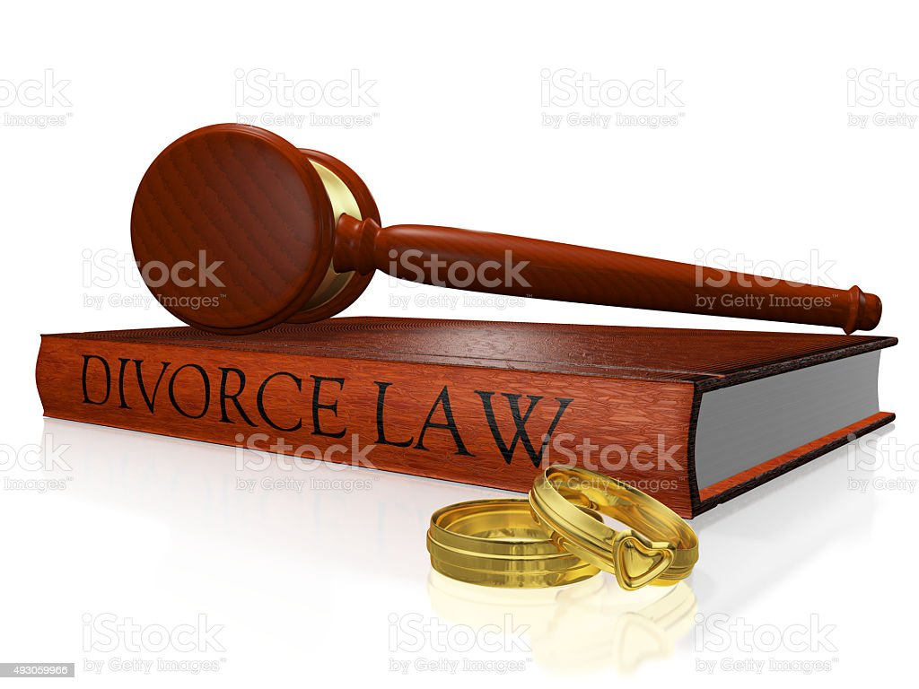 Divorce Law Book Gavel and Wedding Bands stock photo