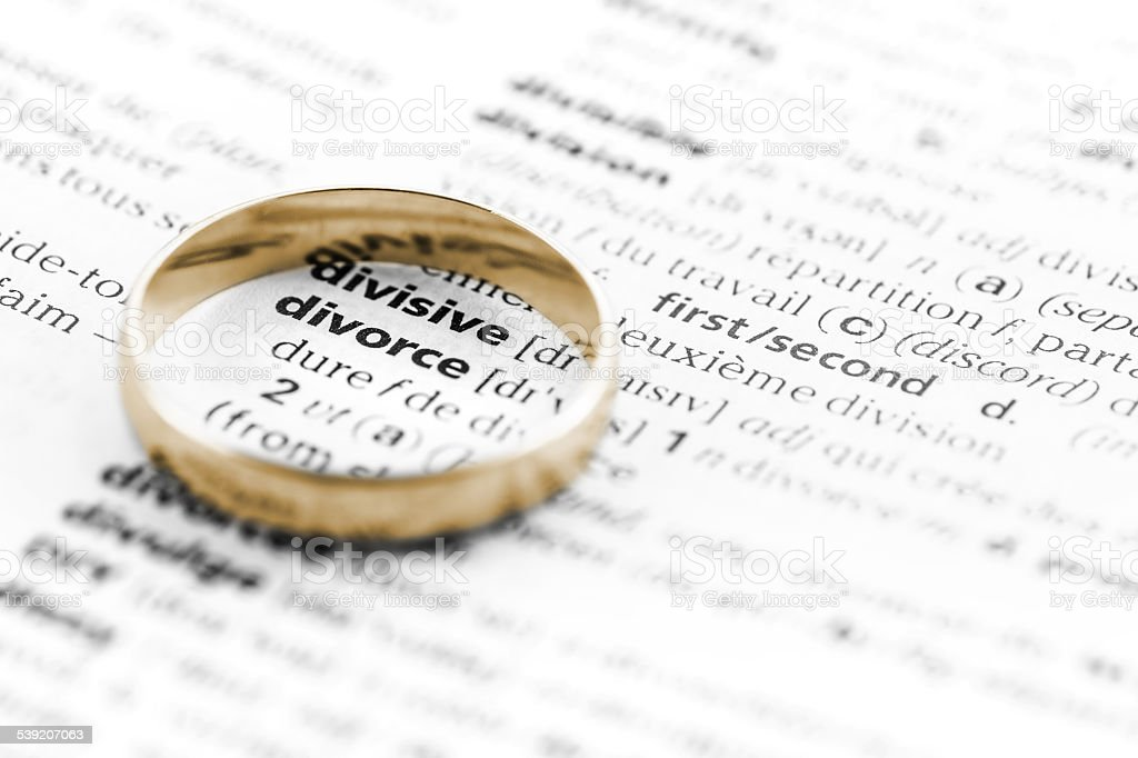 Divorce law definition with ring stock photo
