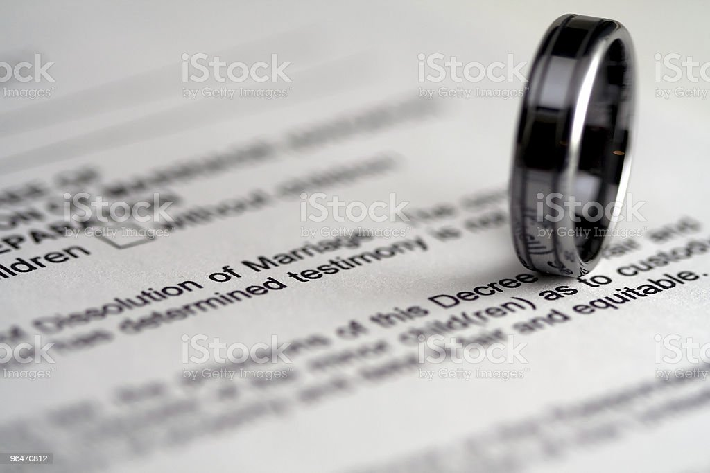 Divorce Papers and Wedding Ring royalty-free stock photo