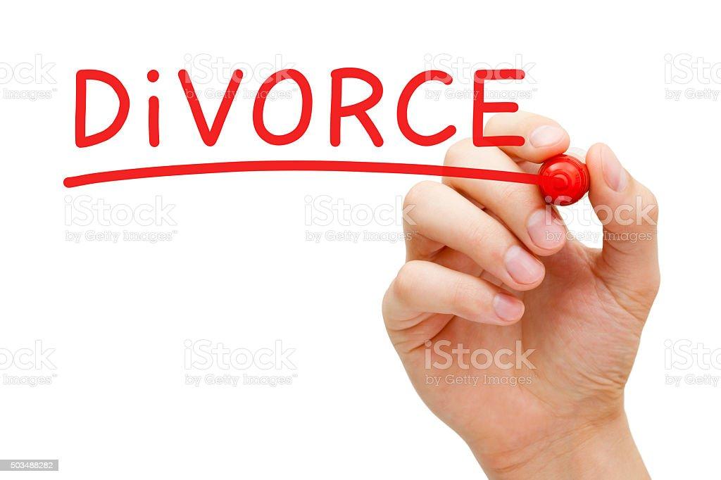 Divorce Red Marker stock photo