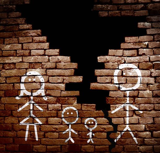 divorced family concept - four lawyers stockfoto's en -beelden