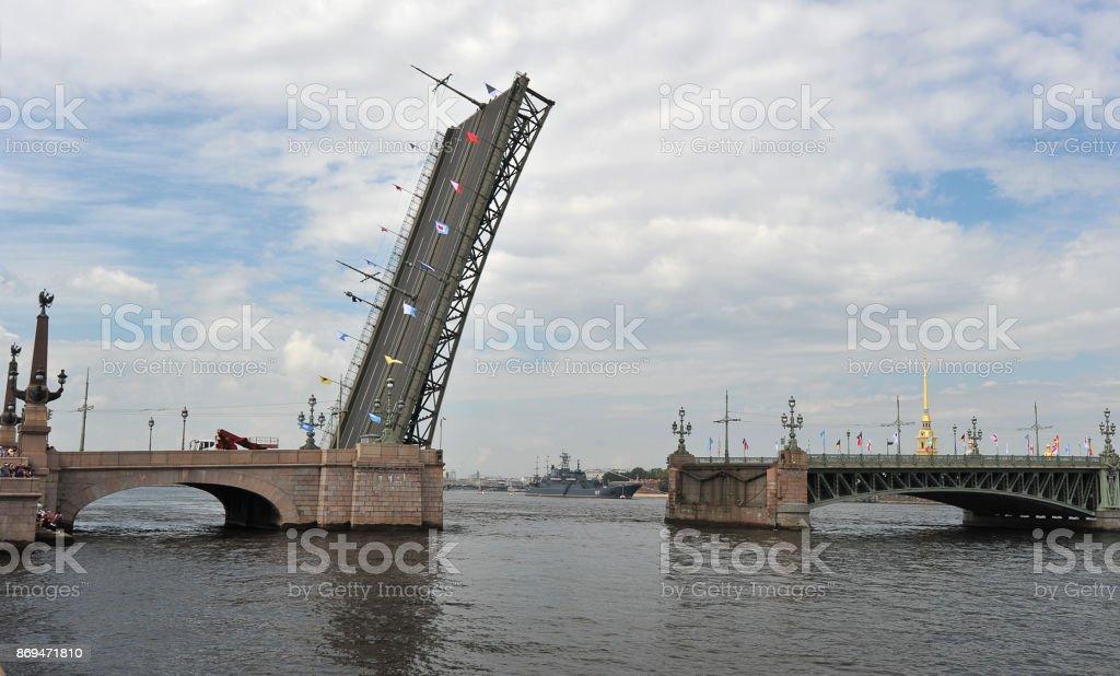 divorced Liteiny bridge across the Neva river in St. Petersburg stock photo