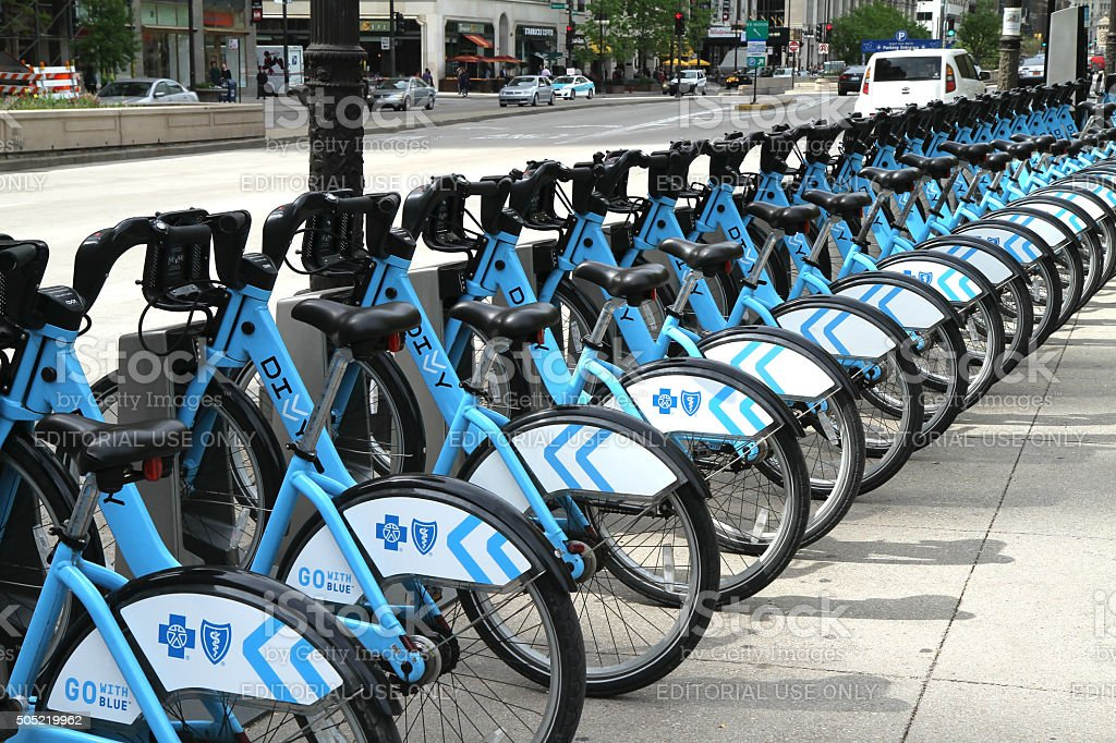 Divvy bike rental station in downtown Chicago stock photo
