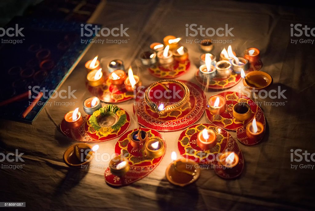 Diwali Candles and Oil Lamps at Night stock photo