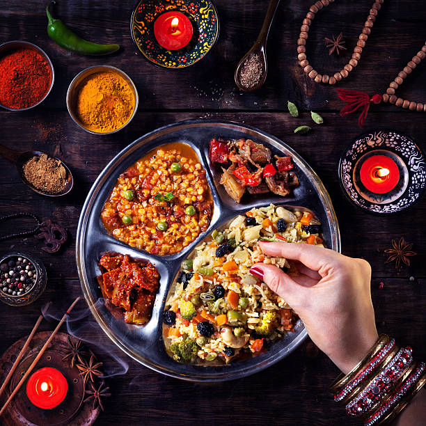 Diwali celebration food stock photo