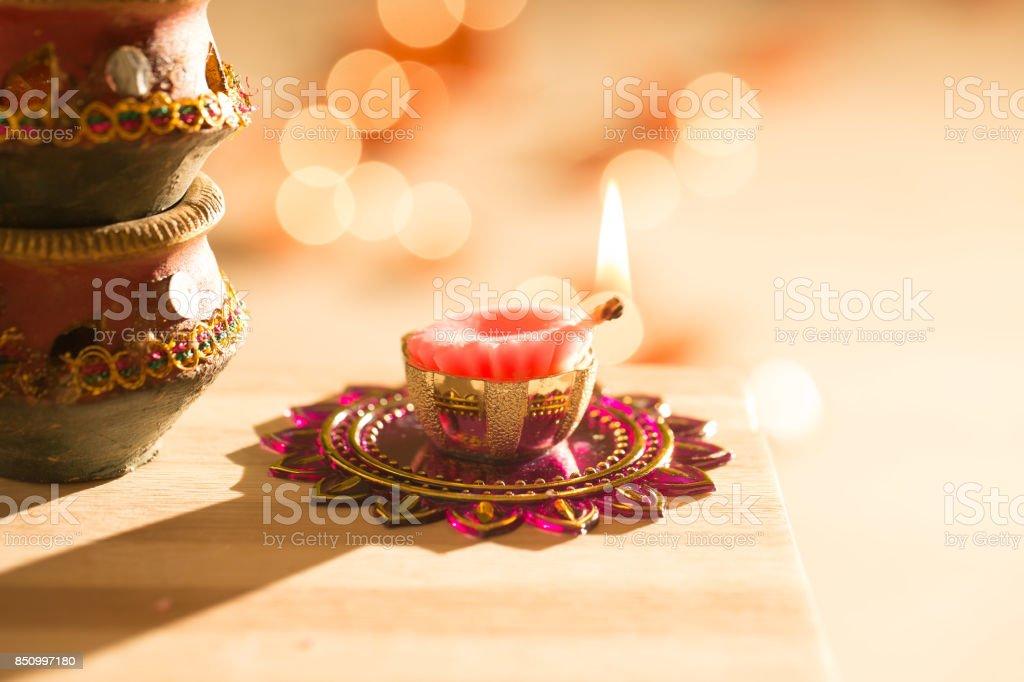 diwali lights and diyas stock photo